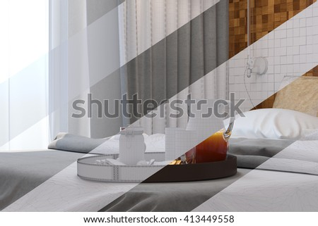 3d illustration of bedroom interior design in a contemporary style. Bedroom displayed in the polygon mesh without textures