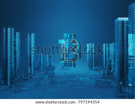 3D illustration of bitcoin symbol rising from modern city on the waterfront