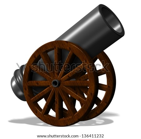 3d illustration of black antique cannon with wooden wheels / Cannon