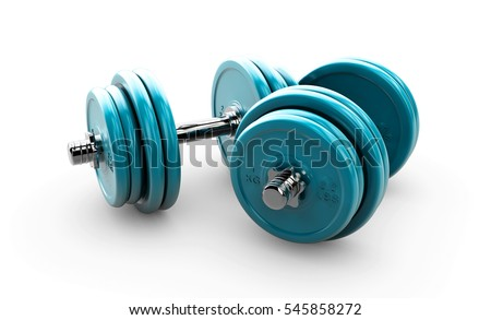3d illustration of Black dumbbells on white background
