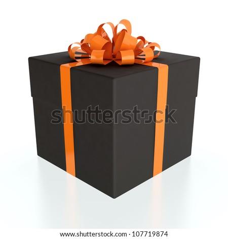 3D illustration of black gift box with orange ribbon on white background