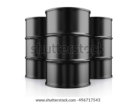 3D illustration of Black Metal Oil Barrels, Industrial Concept.