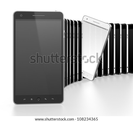 3D illustration of black mobile phones in a row with white one standing apart