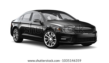 3D illustration of Black sedan car - studio shot on white