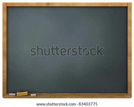 3d illustration of blackboard over white background