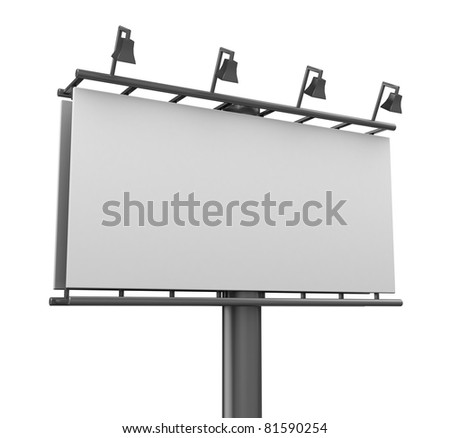 3d illustration of blank billboard closeup