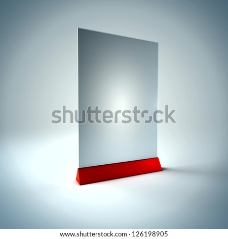 3D Illustration of Blank Information Glass Holder Render isolated on Background