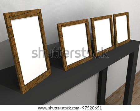 3d illustration of blank picture frames