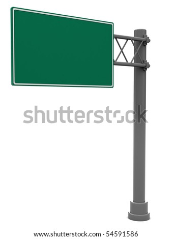 3d illustration of blank road sign isolated over white background