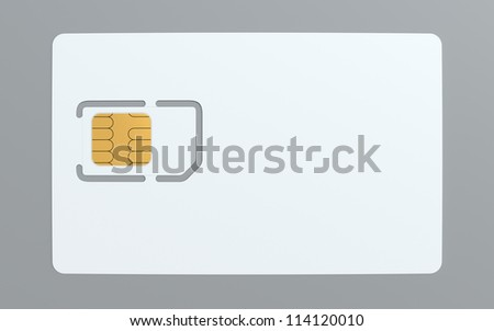 3d illustration of blank simcard template - stock photo