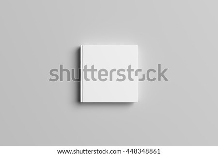 3D Illustration of blank Square Book Cover Mock-up #448348861