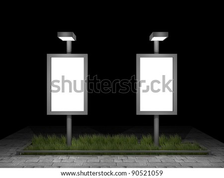 3d illustration of 2 blank street advertising panels