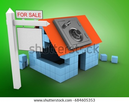 3d illustration of block house over green background with safe and sale sign