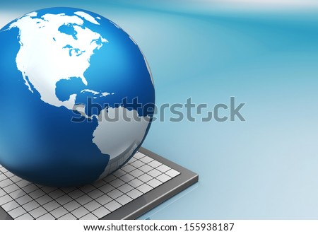 3d illustration of blue colors background with earth globe