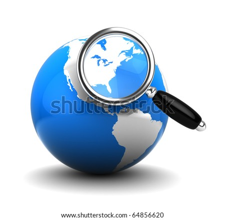 3d illustration of blue earth globe with magnify glass, over white background
