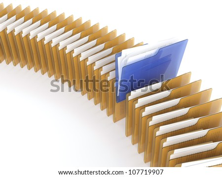 3D illustration of blue folder with files among orange folders on white background