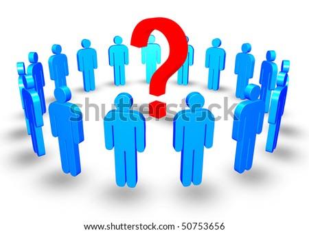 3d illustration of blue men around a question mark