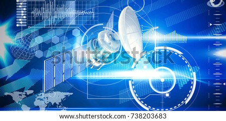 3d illustration of blue solar satellite against blue technology interface with glow