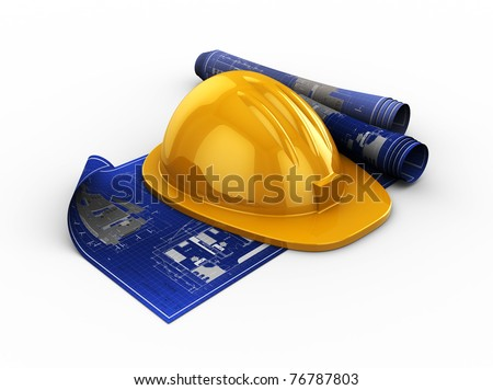 3d illustration of blueprints and hardhat over white background