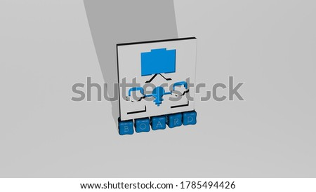 3D illustration of board graphics and text made by metallic dice letters for the related meanings of the concept and presentations. background and wooden stock photo