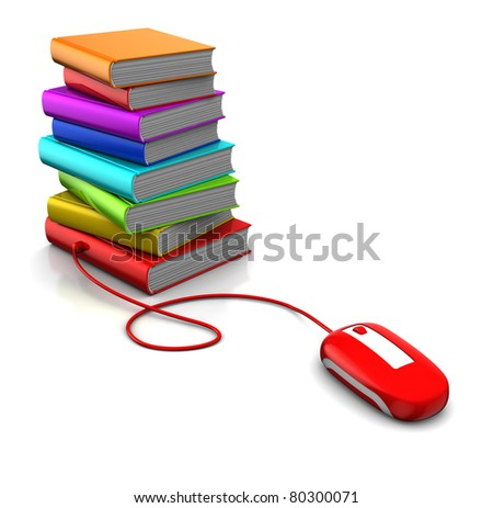 3d illustration of books and computer mouse, electronic library concept