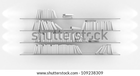 3d illustration of bookshelf illuminated by spotlights