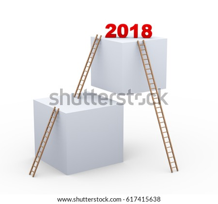 3d illustration of boxes and ladders with text 2018