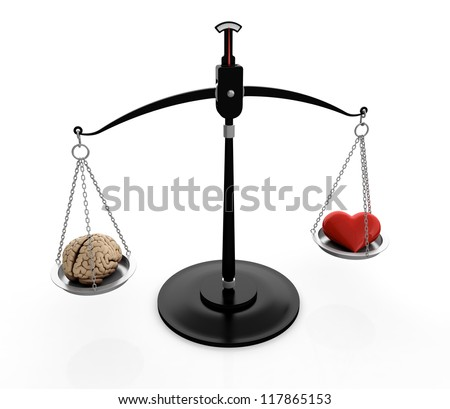 3D illustration of brain and heart on scales isolated on white