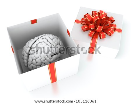 3D illustration of brain present in white gift box with red ribbon
