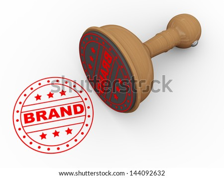 3d illustration of brand wooden rubber stamp