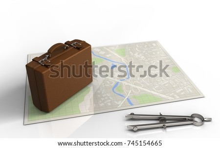 3d illustration of bright map with luggage and