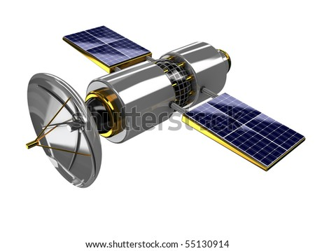 3d illustration of broadcasting satellite isolated over white background - stock photo