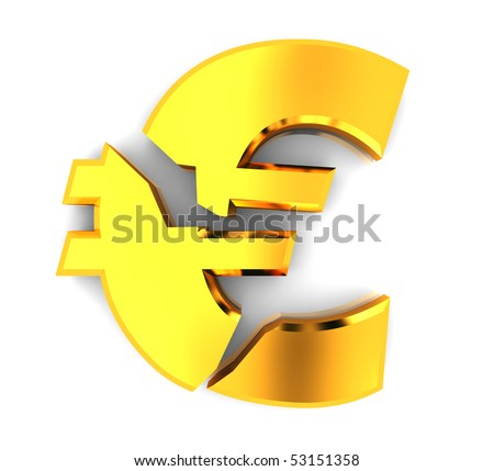 3d illustration of broken euro sign, over white background