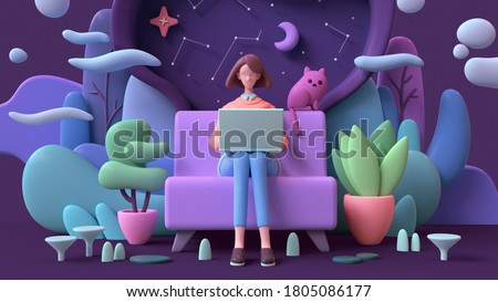 3d illustration of brunette woman with laptop sitting on a sofa late at night on purple background. Abstract concept art lazy sedentary lifestyle of young freelancer working from home with cat, plants