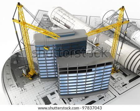 3d illustration of building design concept