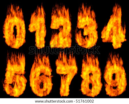 3D Illustration of burning digits isolated on black background.