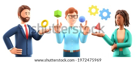 3D illustration of business abstract presentation. Set of multicultural cartoon characters interacting with geometric figures. Use for business annual report, flyer, marketing, leaflet, advertising.