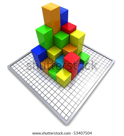 3d illustration of business charts over white background with grid - stock photo
