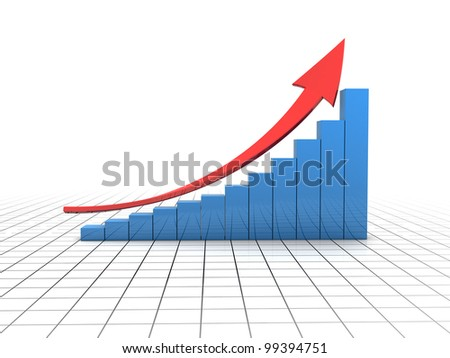 3d illustration of business charts with red arrow, over white background with grid - stock photo