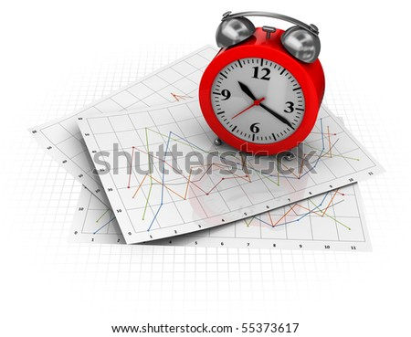 3d illustration of business diagrams and clock, over white background