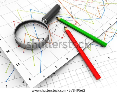3d illustration of business diagrams and magnify glass