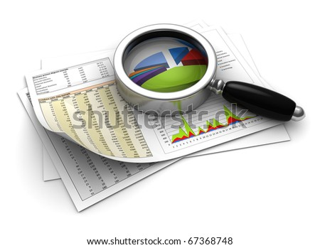 3d illustration of business diagrams prints with magnify glass
