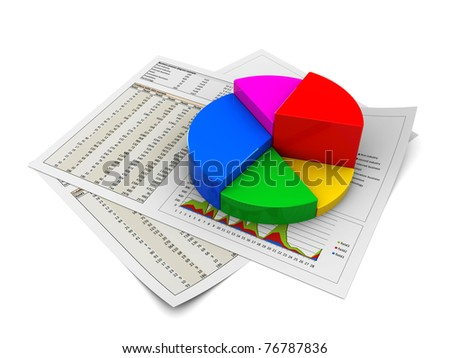 3d illustration of business documents and pie chart