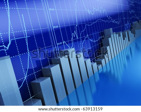 3d illustration of business graphs background, blue colors