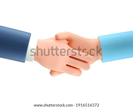 3D illustration of business handshake. Cartoon shaking human hands, isolated on white background. Successful agreement, deal concept, contract partnership.