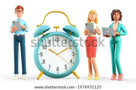 3D illustration of business people team standing nearby a huge vintage alarm clock. Happy multicultural human characters using digital tablets and laptops. Successful teamwork, task due dates concept.