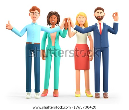 3D illustration of business team Informal greeting. Happy working people giving high five and gesturing ok sign. Multicultural colleagues cartoon characters. Successful partnership concept.