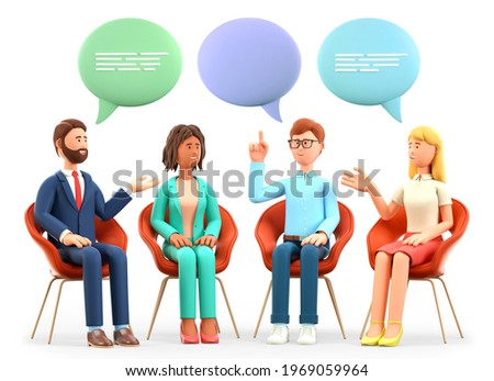 3D illustration of business team meeting and talking with speech bubbles. Happy multicultural people characters sitting in chairs and discussing. Successful teamwork, group therapy, support session.