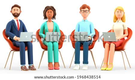3D illustration of business team office working. Happy multicultural people characters sitting in chairs and using laptops. Successful teamwork, group connection and global communication concept.