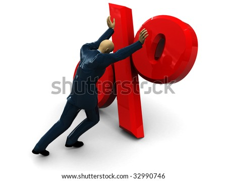 3d illustration of businessman and percent sign over white background